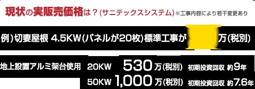 現状の実販売価格 例)切妻屋根 4.5KW(パネルが20枚)標準工事が90万円(税別)